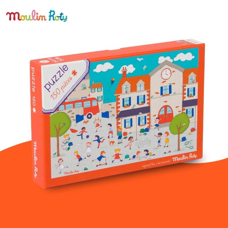 Puzzle A la récré 150 pièces Aujourd'hui c'est mercredi de Moulin Roty
