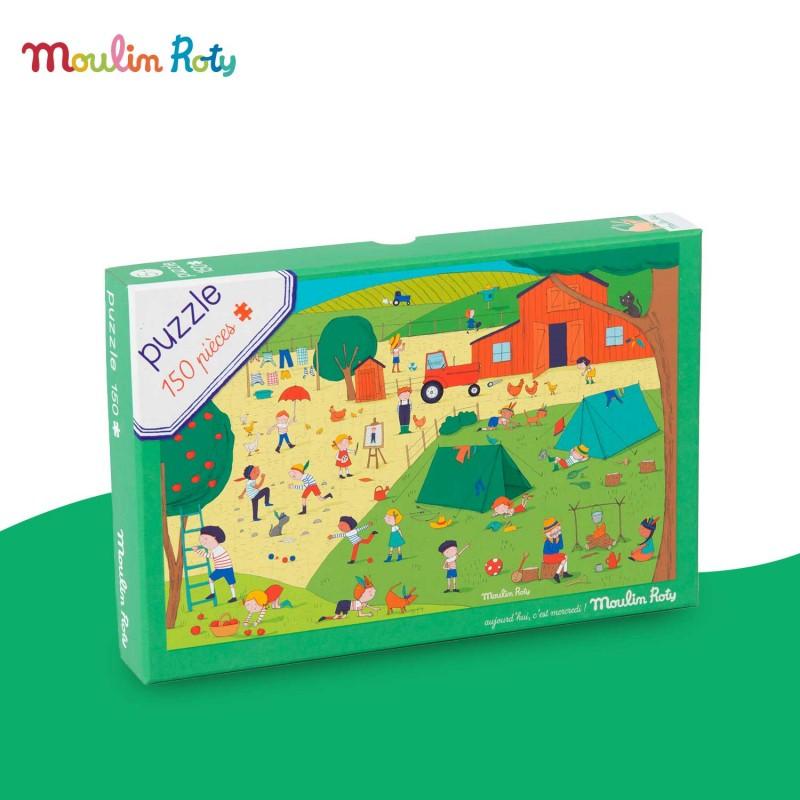 Puzzle A la campagne 150 pièces Aujourd'hui c'est mercredi de Moulin Roty