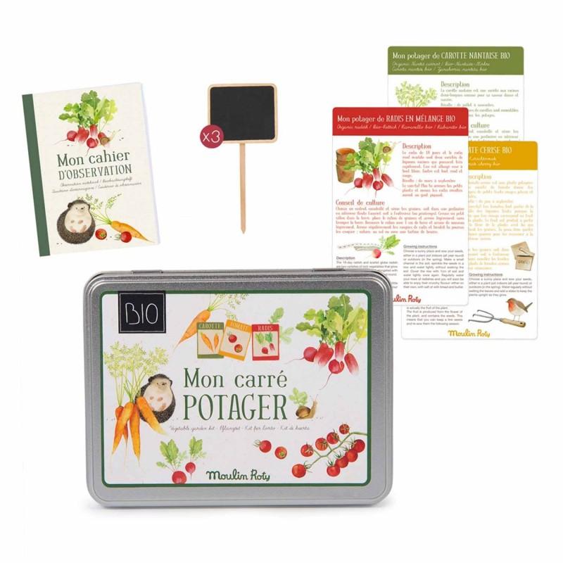 Kit potager BIO Le Jardin du Moulin contenu de la boite