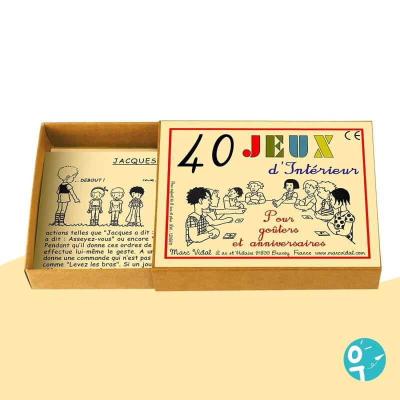 40 Jeux d'intérieur pour les enfants dans une boite vintage.