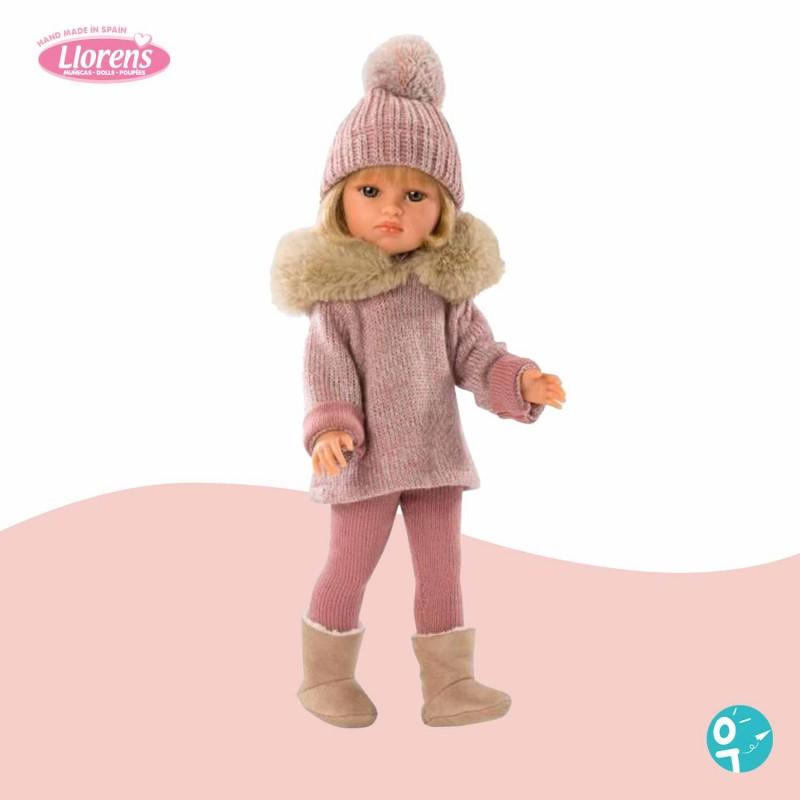 Poupée Daniela tenue hiver rose avec bonnet Llorens