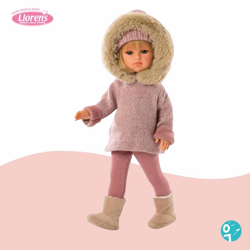Poupée Daniela tenue hiver rose avec capuche Llorens