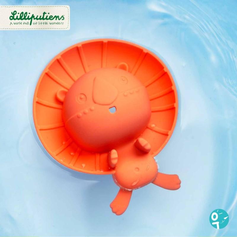Jouet pour le bain en forme de lion flotteur et aspergeur.