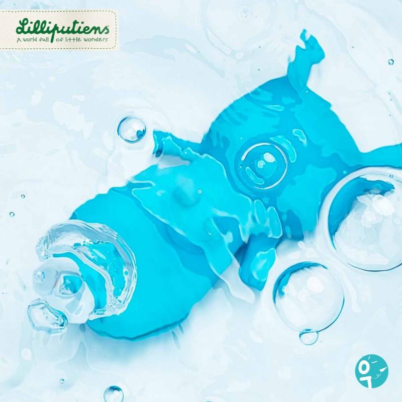 Un jouet pour le bain qui fait des bulles.