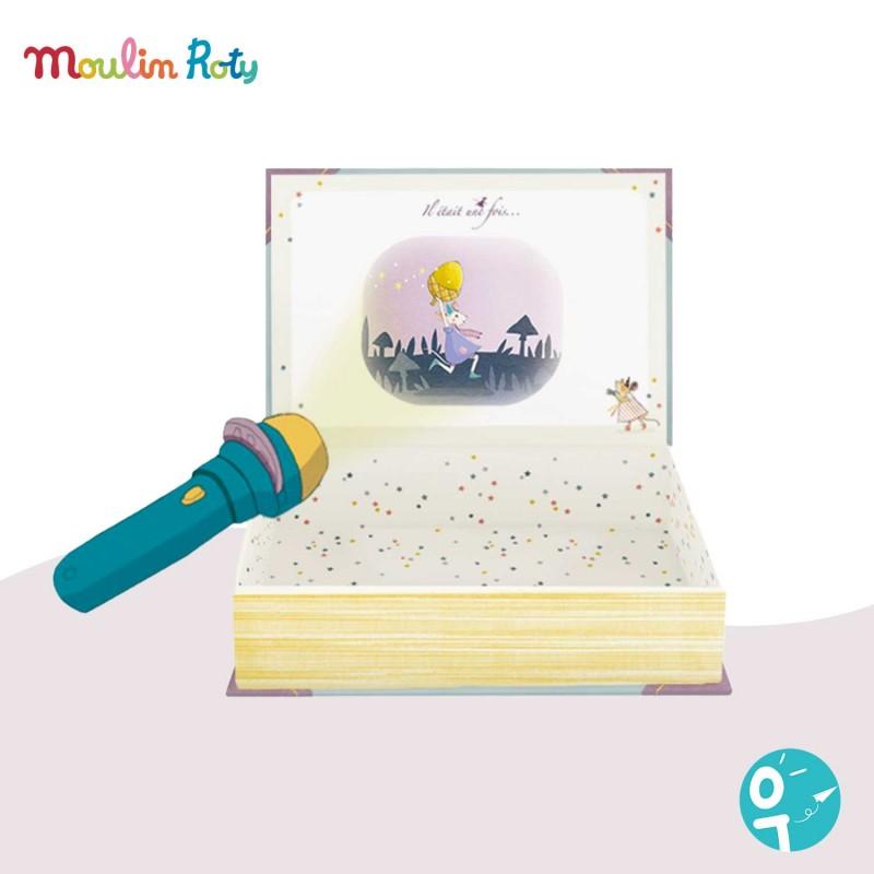 Livre Lampe à histoires pour projeter des contes sur le mur Moulin Roty 711361