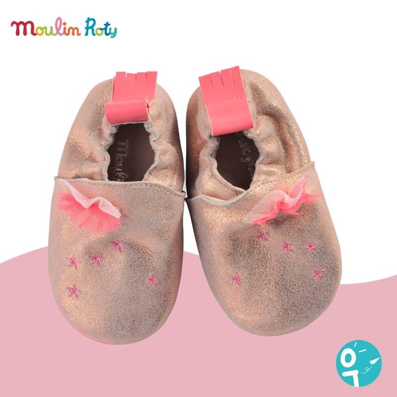 Chaussons cuir rose paillettes Les Tartempois Moulin Roty (12 à 18 mois)