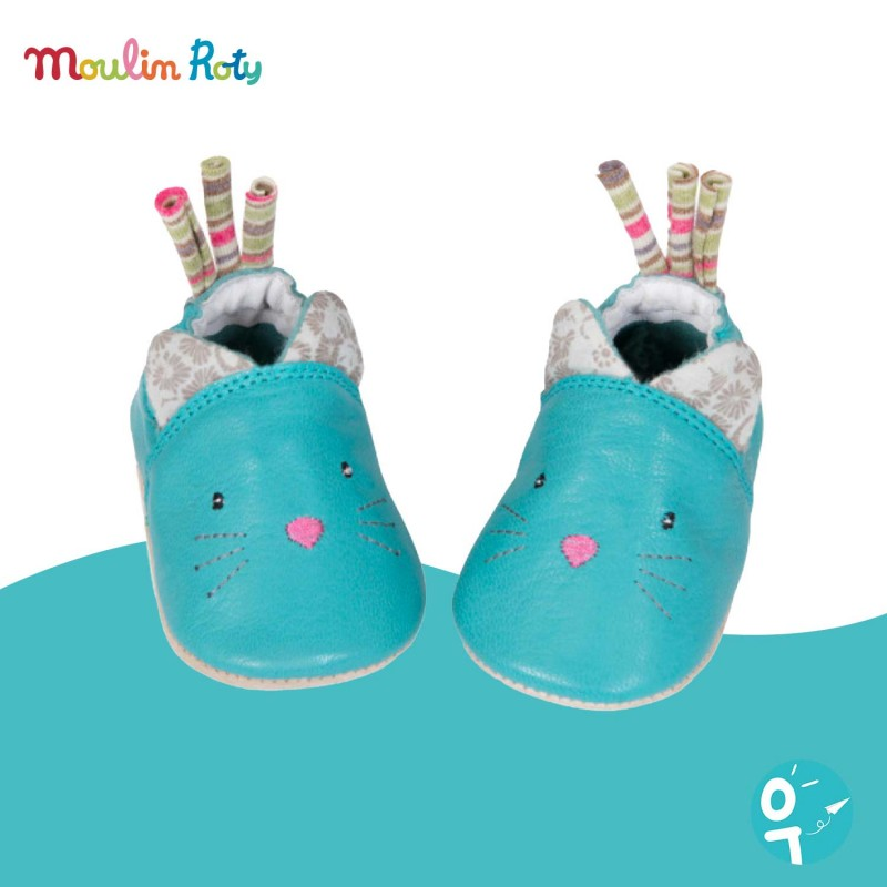 Chaussons bébé cuir chat Les Pachats Moulin Roty (0-6 mois)