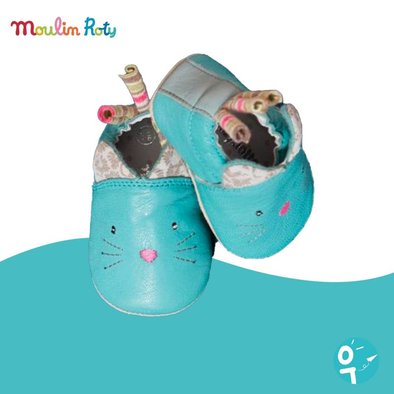 Chaussons de naissance chat bleu turquoise Moulin Roty X Babybotte