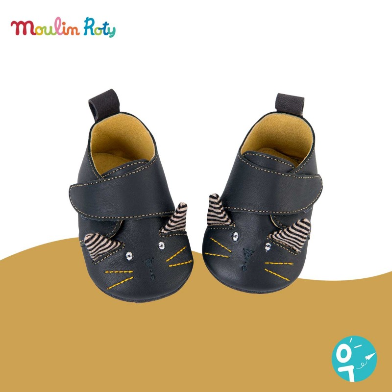 Chaussons cuir noir chat Les Moustaches Moulin Roty (0-6 mois)