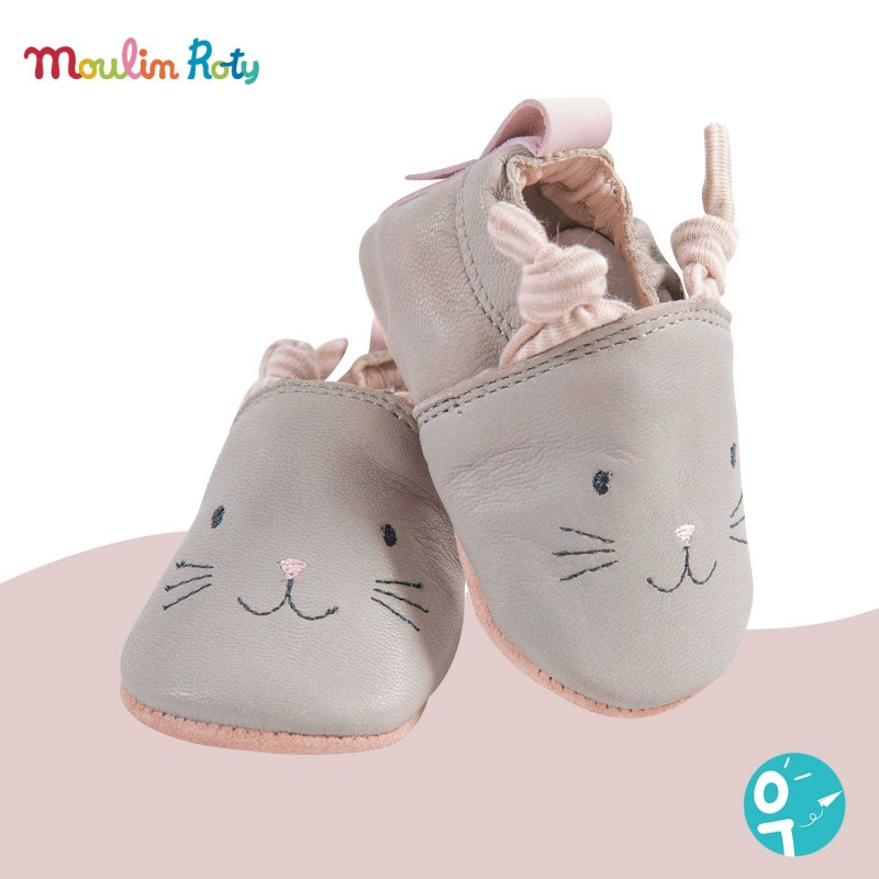 Chaussons cuir gris chat Les Petits Dodos Moulin Roty (0-6 mois)