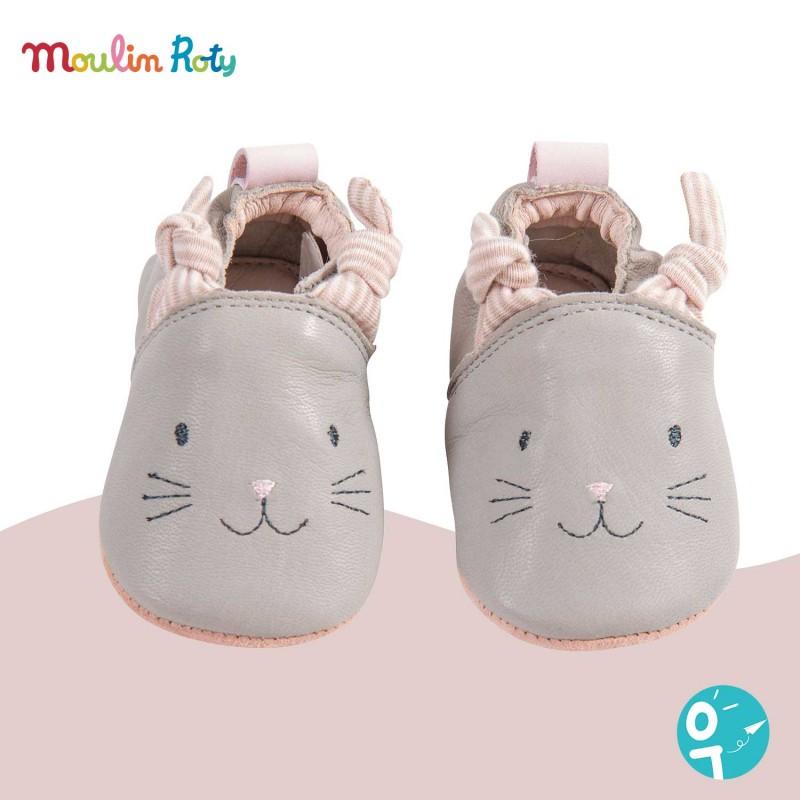 chaussons de naissance (6 à 12 mois) de qualité en cuir gris pour les bébés de Moulin Roty.