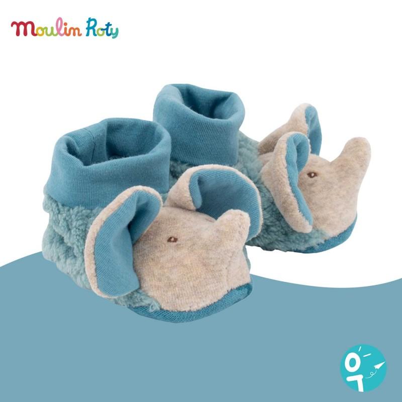 Chaussons éléphant bleu bergamote pour bébé de Moulin Roty