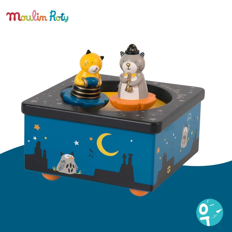 Boite à musique magnétique en bois de Moulin Roty Les Moustachus  660105