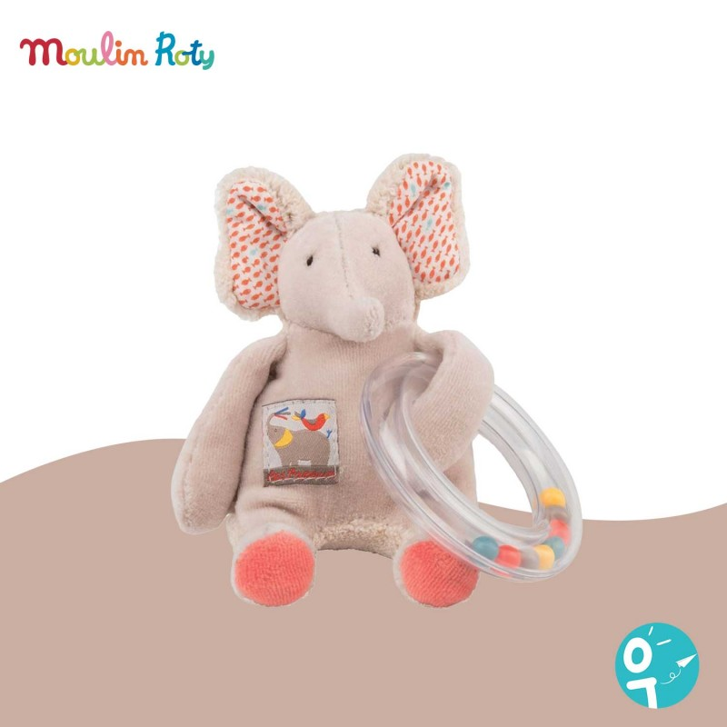 Hochet anneau de billes éléphant Les Papoum Moulin Roty