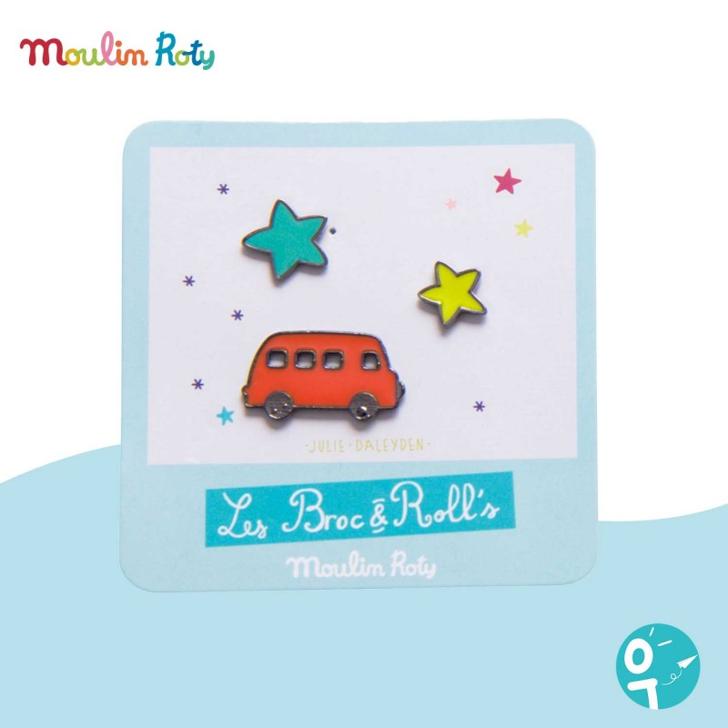 3 pin's laqués camion rouge Les Broc' & Rolls Moulin Roty 642766