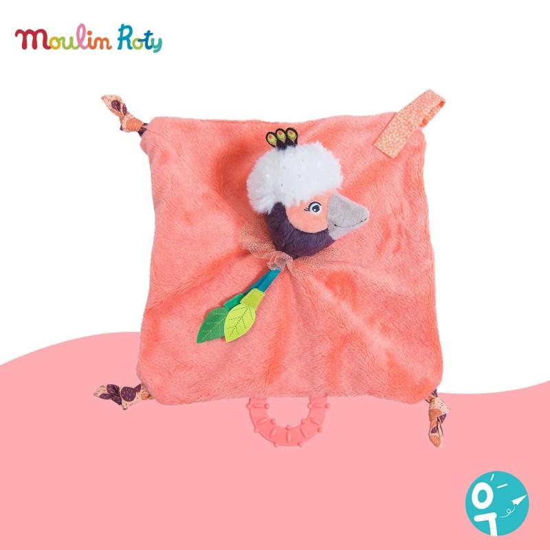 Doudou plat et carré oiseau rose Paloma Moulin Roty 668016