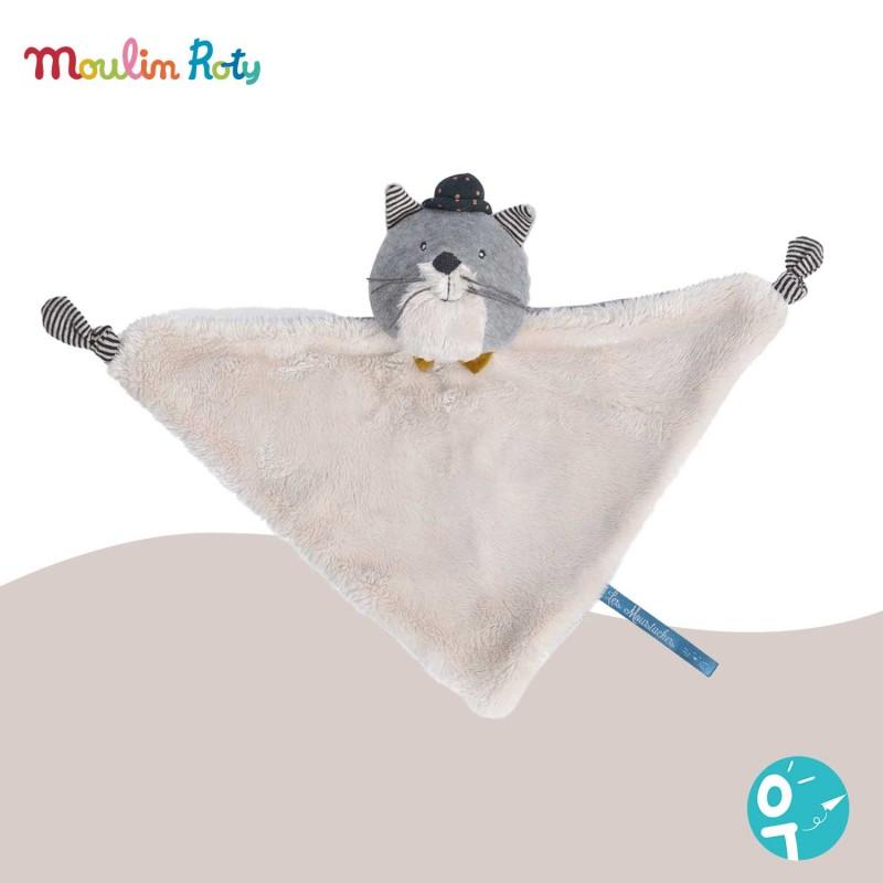 Doudou plat chat gris Fernand Les Moustaches Moulin Roty 666017