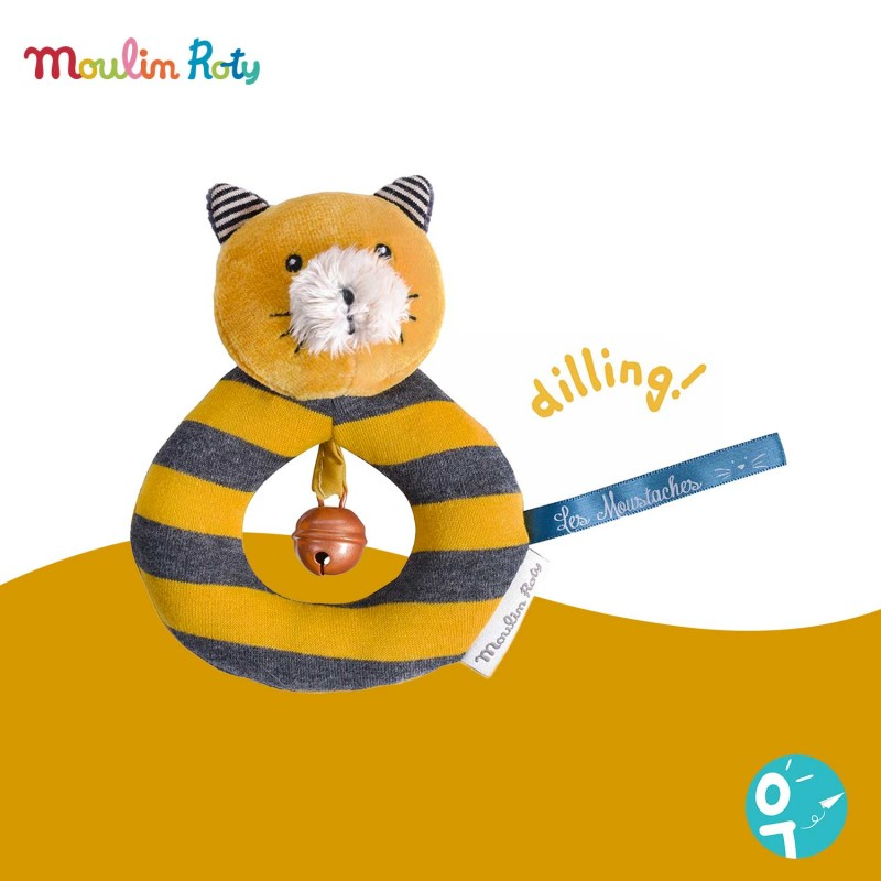 Anneau-hochet chat moutarde Lulu Les Moustaches Moulin Roty 666013