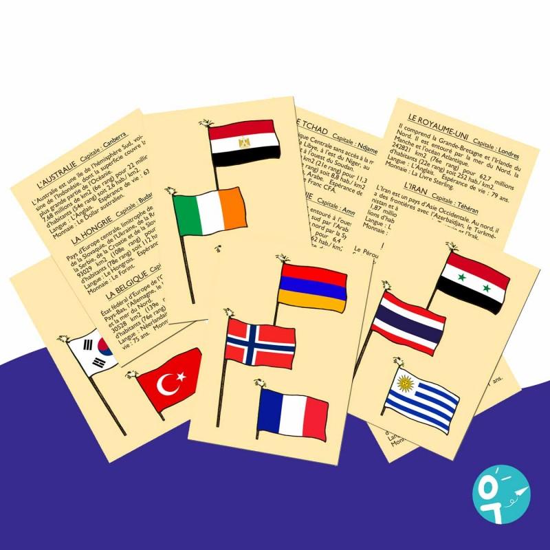 Jeu éducatif  pour apprendre les drapeaux de 72 pays.