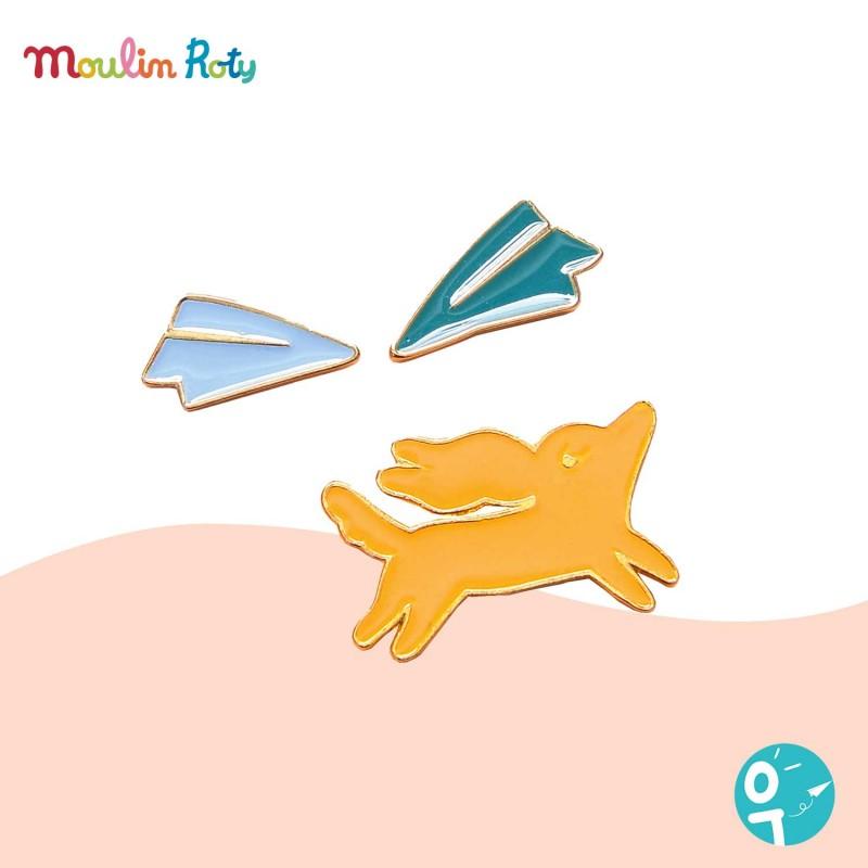 3 pin's chien & avions Les Parisiennes de Moulin Roty