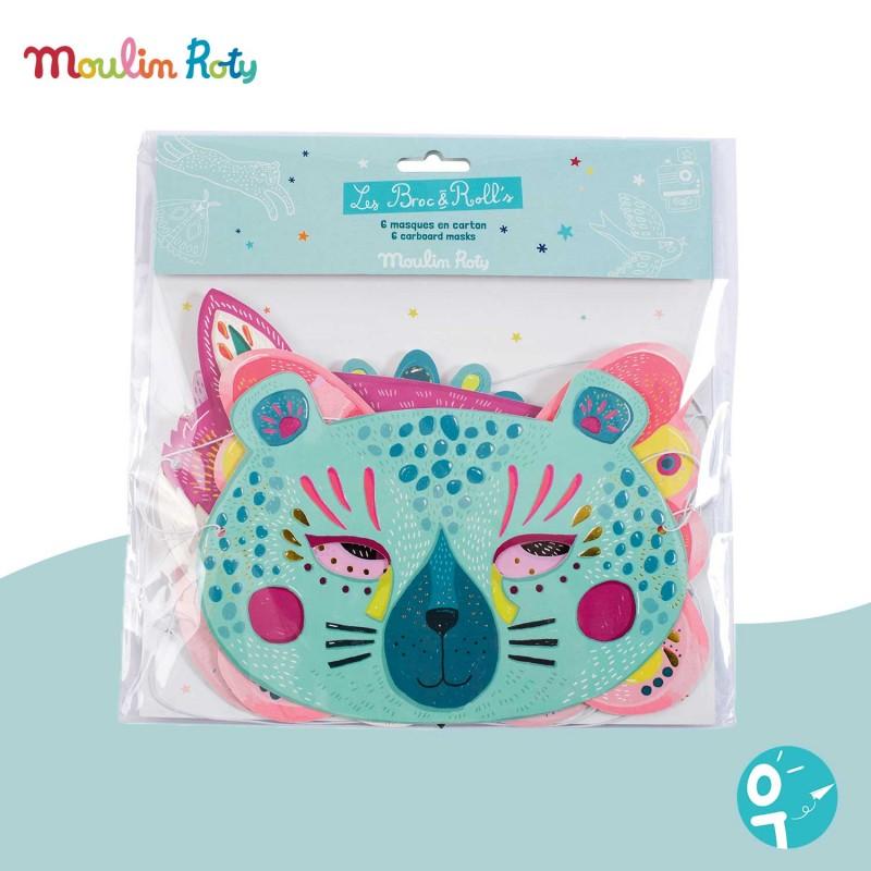 6 masques en carton fille Les Broc' & Rolls Moulin Roty 642776