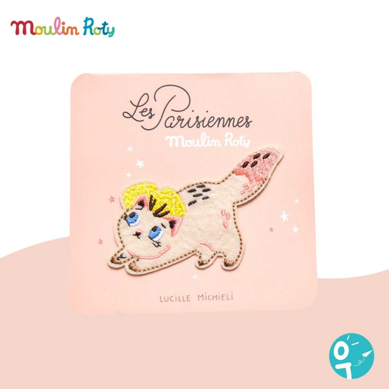 Patch brodé chat thermocollant Les Parisiennes Moulin Roty
