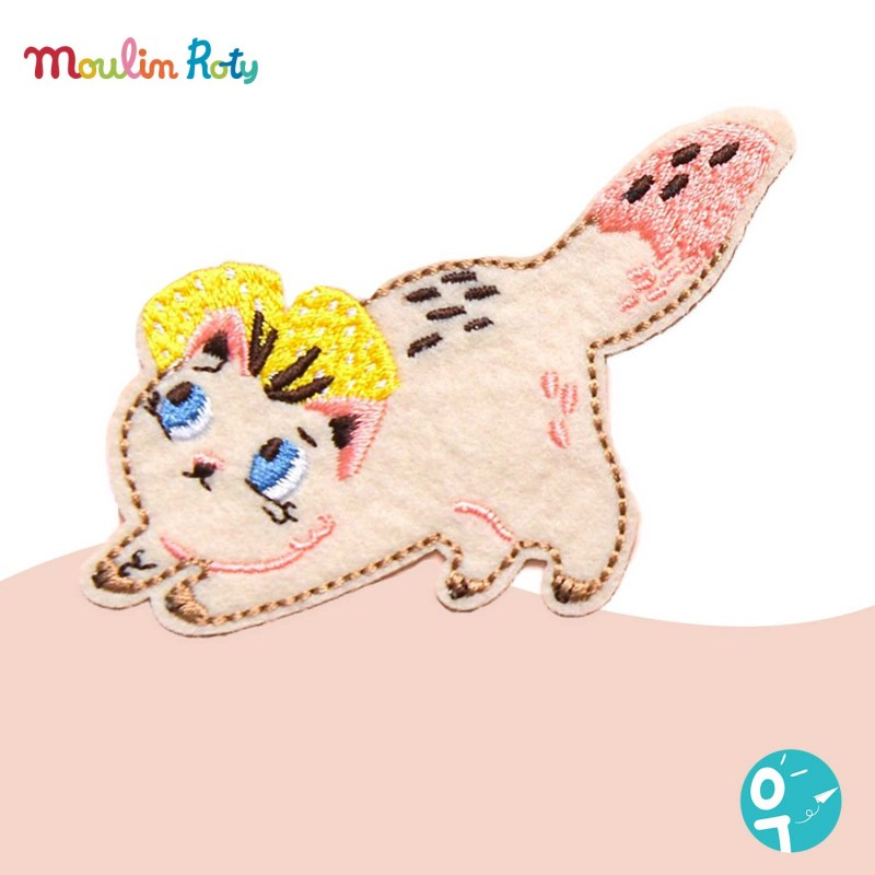 Chat rose patch brodé thermocollant moulin roty 642549
