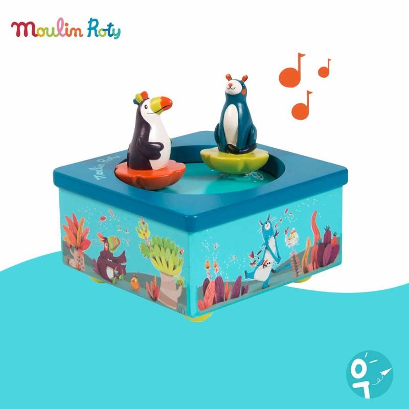 Boite à musique Bleue Dans la Jungle Moulin Roty