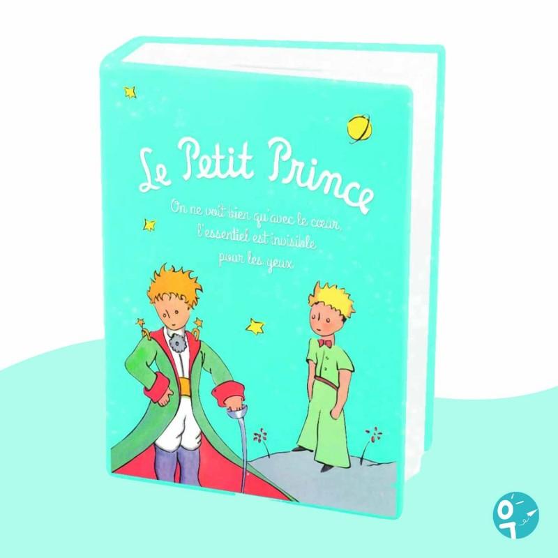 Tirelire Le Petit Prince en forme de livre turquoise avec épée