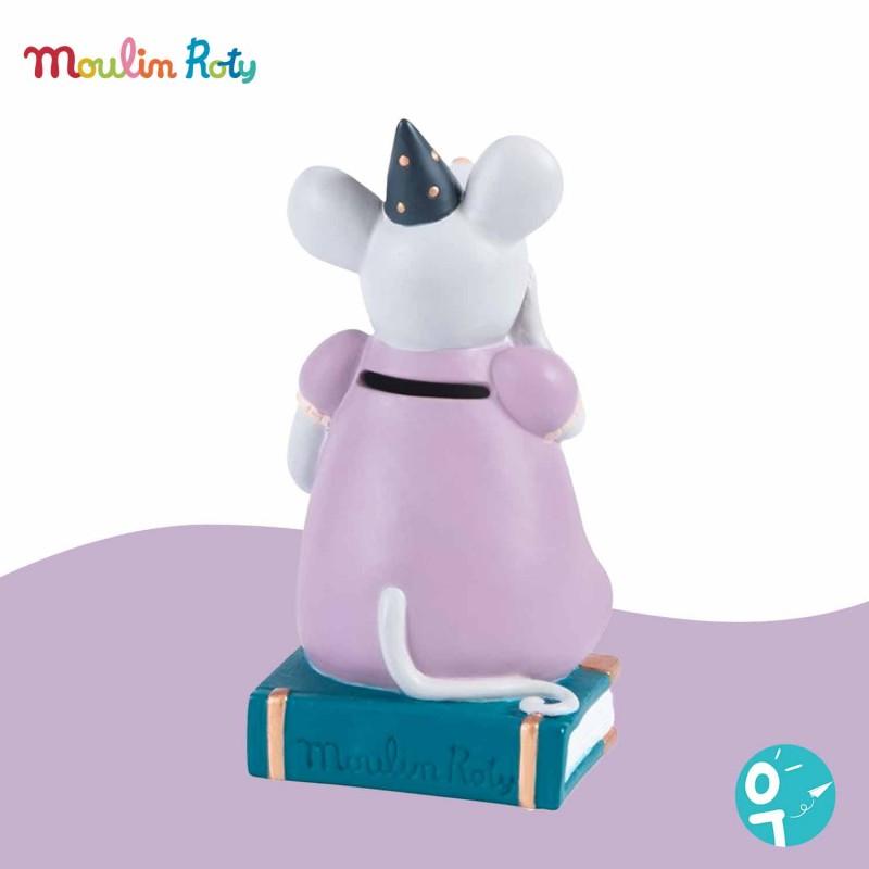 Dos de la tirelire souris rose Il était une Fois Moulin Roty