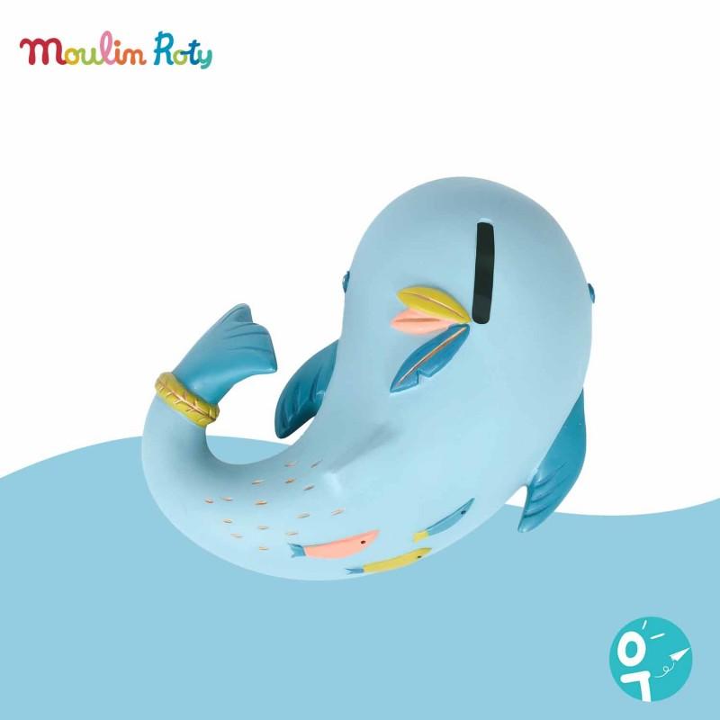 Trirelire en résine Joséphine la baleine de Moulin Roty
