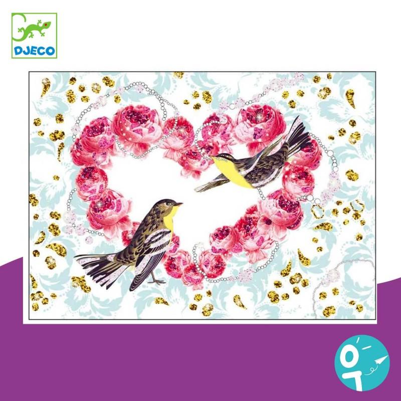 Carte à pailleter oiseaux Djeco