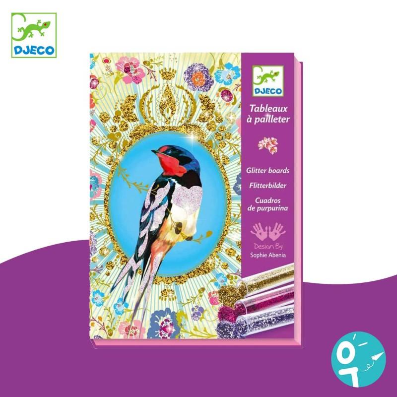 Tableaux à pailleter : oiseaux à paillettes Djeco