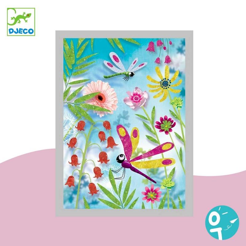 Carte à pailleter pour les enfants avec des libellules