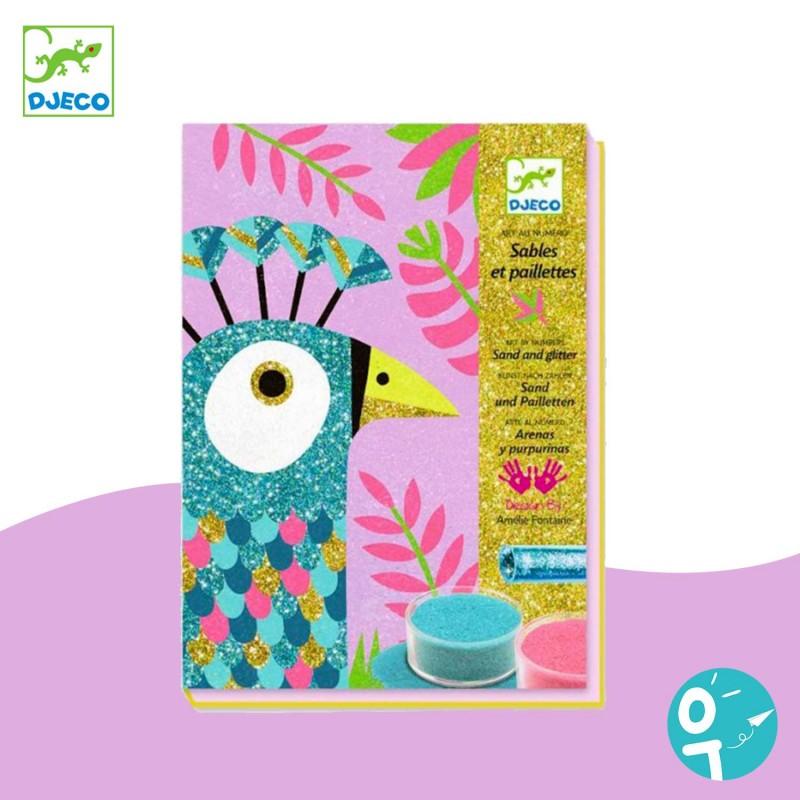 Sables colorés avec paillettes éblouissants oiseaux Djeco