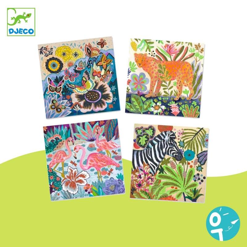 4 cartes à pailleter avec les animaux de la forêt tropicale.