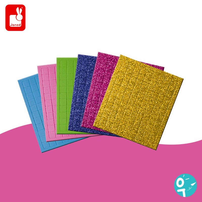 carrés de mousse pailletés, mats & colorés