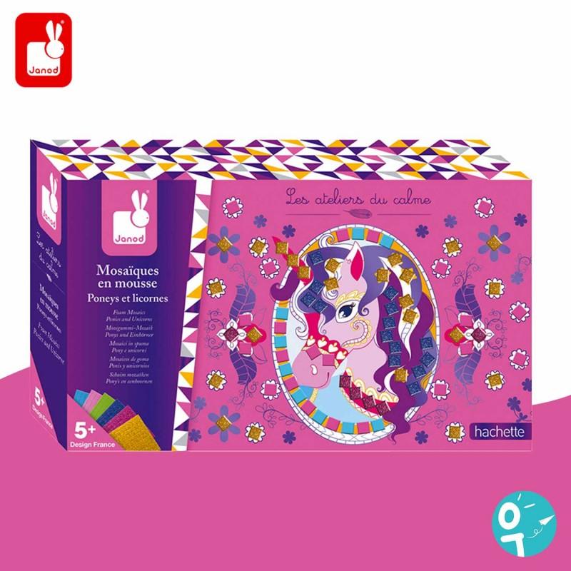 Boite set créatif mosaïque poneys et licornes Janod