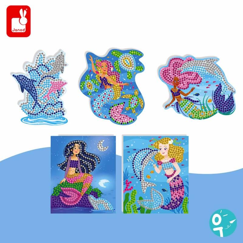5 tableaux de mosaïques sur le thème des dauphins et des sirènes Janod