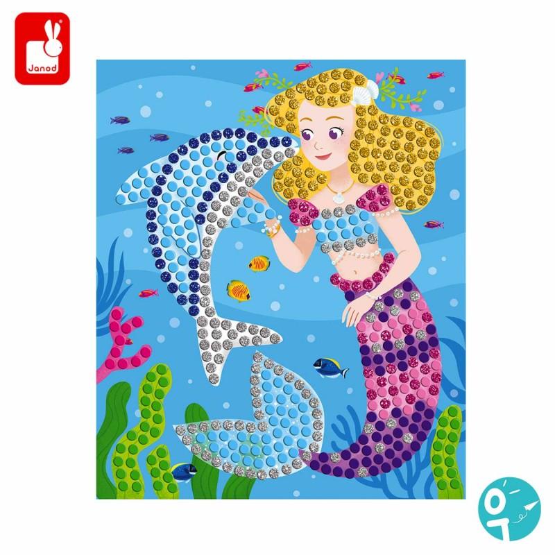 tableaux de mosaïques avec sirène et dauphins pour les enfants