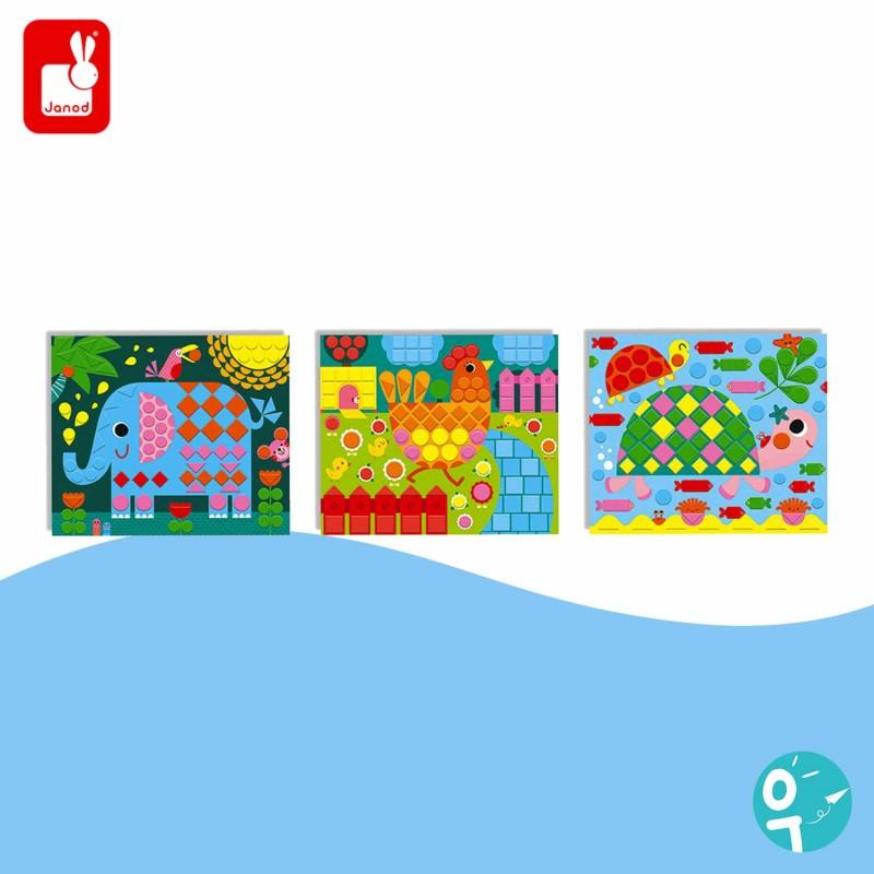 3 tableaux de mosaïques avec des animaux pour les enfants