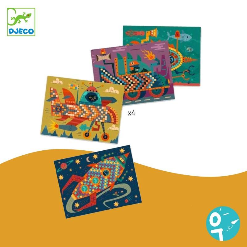 4 cartes de mosaïques pour les enfants (dès 3 ans)