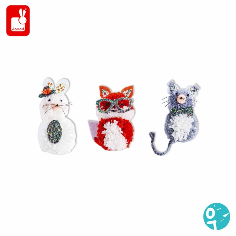 3 magnifiques jolis petits animaux (un renard, une souris et un lapin) à base de pompons