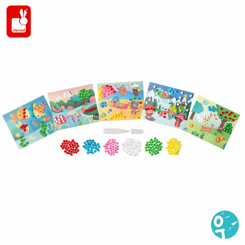 5 cartes à pompons, 210  pompons de 6 couleurs et un tube de colle