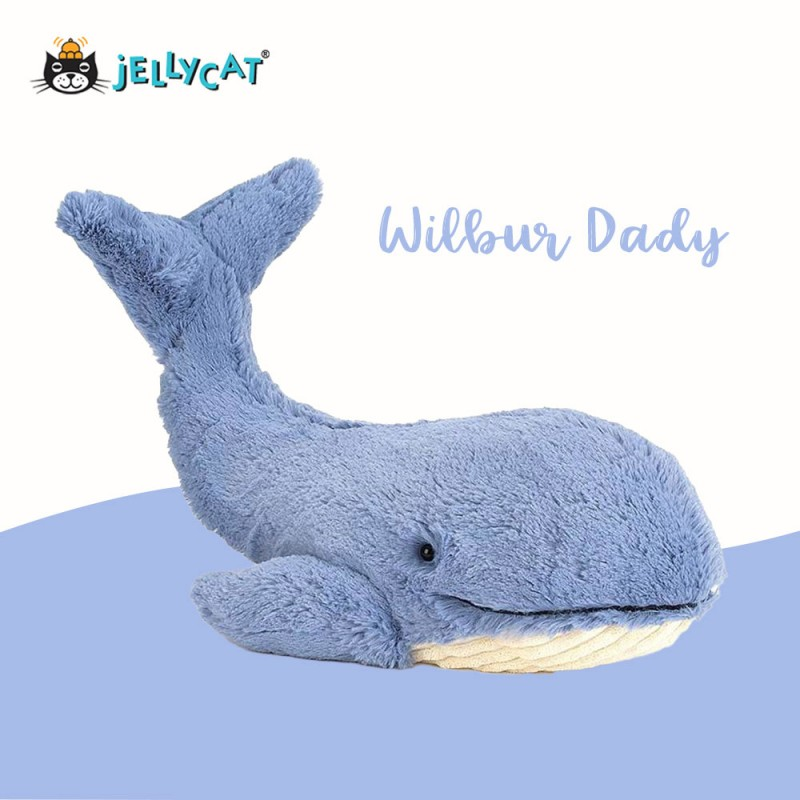 Grande peluche baleine Jellycat - vue de côté