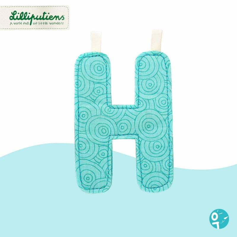 Lettre en tissu H réversible Lilliputiens - Côté bleu