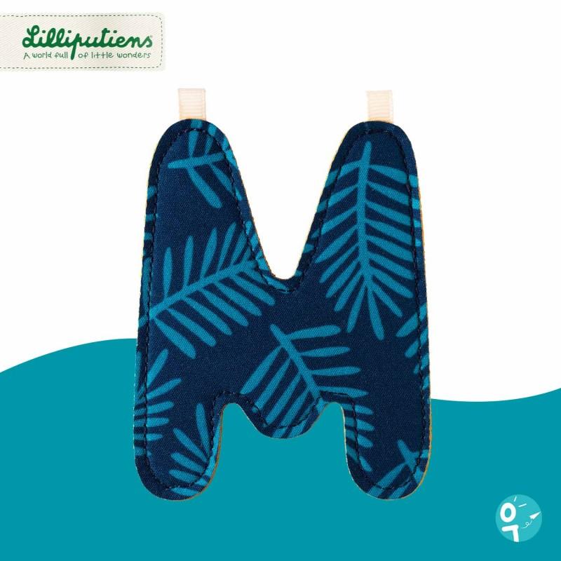 Lettre en tissu M réversible Lilliputiens - Côté bleu