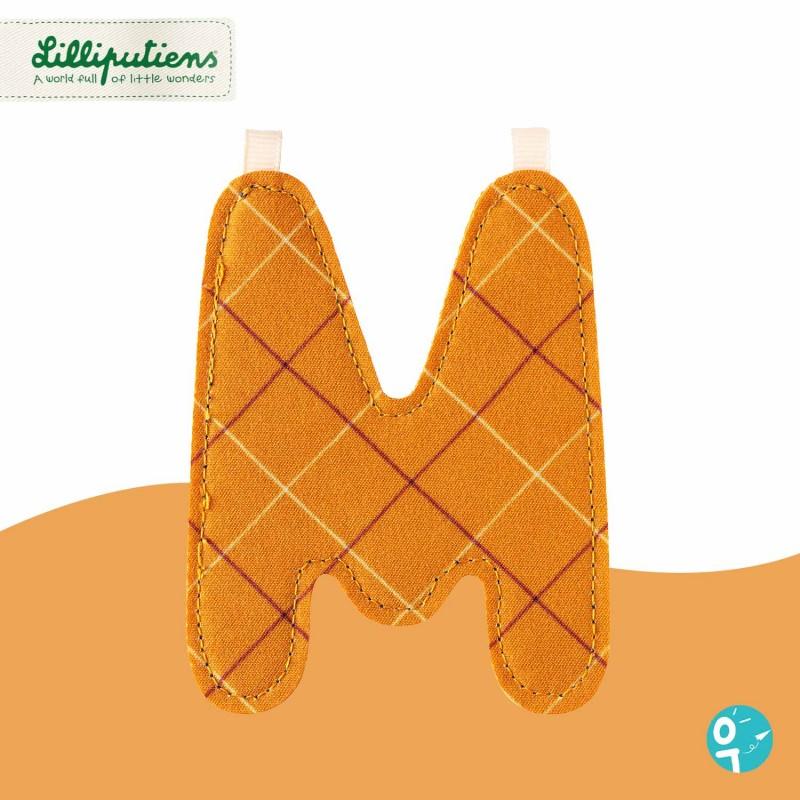 Lettre en tissu M réversible Lilliputiens - Côté orange