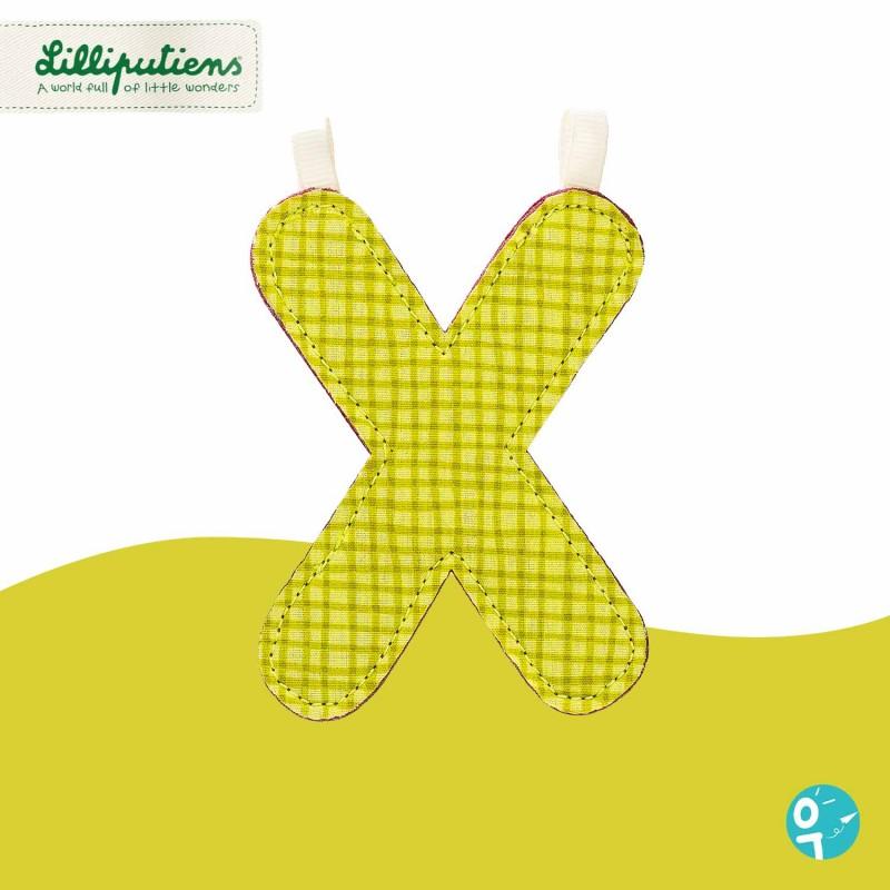 Lettre en tissu X réversible Lilliputiens - Côté vert