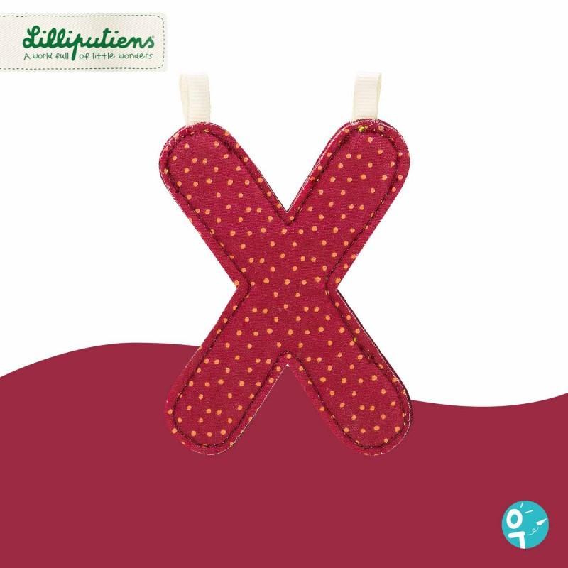 Lettre en tissu X réversible Lilliputiens - Côté rouge